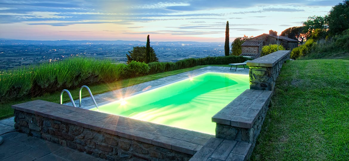 The moment of sunset at the Agriturismo Mulino a Vento